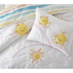 Delight in this fun and colourful bedspread from pottery barn kids. Reversible with rainbows and sunshine appliqué, it's made from soft cotton sateen and is sure to brighten up any room! duvet cover, pillowcase and inserts are sold separately. Cotton Sheets, Cotton Quilts, Cotton Linen, Kids Ca, Big Kids, Toddler Quilt, Hanging Art, Pottery Barn Kids, Linen Bedding