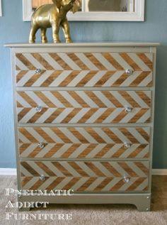 DIY Paint and Wood Herringbone Dresser Repurposed Furniture, Home Decor Furniture, Furniture Projects, Furniture Makeover, Painted Furniture, Diy Home Decor, Striped Furniture, Idee Diy, Furniture Inspiration
