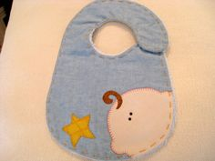 Blue Patchwork bib with star and cute baby by PatchworkElektraz, $32.00
