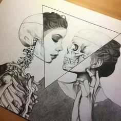 Art sketches ideas - ¤ madebypernille: i love art that mixes skeletal struc Cool Drawings, Drawing Sketches, Pencil Drawings, Amazing Drawings, Hard Drawings, Tattoo Sketches, Drawing With Pencil, Black Pen Drawing, Bone Drawing