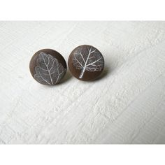 Button Earrings, Earrings Post, Brown and White Clay Earrings, Leaf... (640 RUB) ❤ liked on Polyvore featuring jewelry, earrings, clay jewelry, leaves earrings, leaf jewelry, stud earrings and white earrings