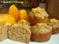 Star Fruit (Carambola) Orange Muffins (dairy-free, egg-free, corn-free)
