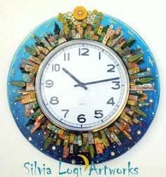 #cityscapes in wood around a clock, see more on FB page Silvia Logi Artworks https://www.facebook.com/pages/Silvia-Logi-Artworks/121475337893535