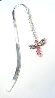 Dragonfly Bookmark - October Birthstone Rose Pink Crystal