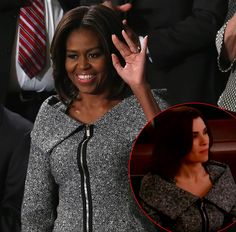 Michelle Obama looked powerful and feminine in her Michael Kors suit at the State of the Union address -- find out where you've seen her outfit before!