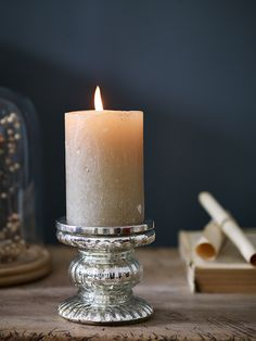 Chunky Mercuried Glass Candlestick