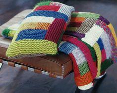 Patchwork-Decke mit Kissen DIY - Strickanleitung - Rubrik: Stricken für Anfänger; Wollreste verabeiten