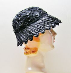 Vintage black cloche 1950's black felt hat with by mathildasattic