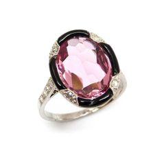 Pink tourmaline, black enamel and diamond ring