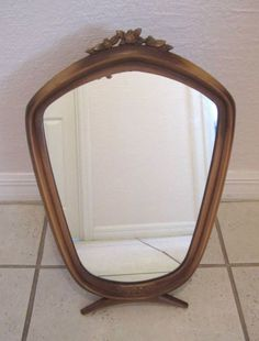 VTG Mirror Vanity Table Top Art  Deco Arts & Crafts Style Syroco Wood Frame #ArtsCraftsMissionStyle #SyrocoWood
