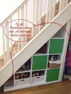 IKEA Hackers: Expedit under-stairs storage (add wheels and if space - add shelves in the back