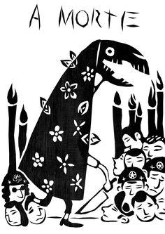 taro_sobreotatame Arte Popular, Tarot Death, Le Tarot, Tarot Major Arcana, Black Ink Tattoos, Tarot Card Decks, Outsider Art, Archetypes, Art Plastique