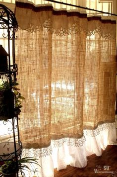 Custom Shabby Rustic Chic Burlap Shower Curtain Valance Lace Ruffle White French | eBay
