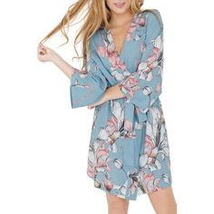 Women's Plum Pretty Sugar Floral Kimono Robe (4,315 INR) ❤ liked on Polyvore featuring intimates, robes, mermaid moon, dressing gown, floral kimono, kimono bathrobe, floral kimono robe and floral bathrobe
