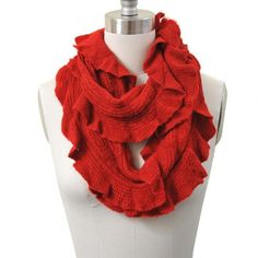 Fluffy Stretchy Lace Eternity Scarf Red Color by SpinningDaisy. $12.99. This very fashionable scarf will be the must item for the winter. It is not only warm you up but also give you the final touch on your outfits. You can be creative with this loop style scarf and don't be afraid of cold weather