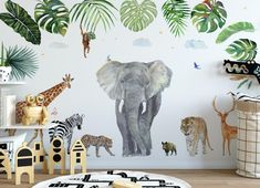 We simply need the size of your wall for the price: info We can add & swap animals. We print our wallpapers on Tuesday, shipping within 3 days. Toddler Boy Room Decor, Boys Room Decor, Nursery Wall Decor, Kids Decor, Nursery Art, Jungle Baby Room, Unisex Kids Room, Nursery Wallpaper, Kids Room Wall Art