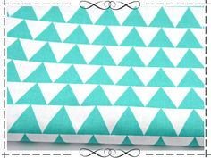 Stoff retro - Baumwolle, weiß-türkise Dreiecke, 3 cm - ein Designerstück von imagine-shop bei DaWanda