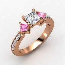 pink and silver diamond w/ gold band