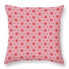 Christmas #throwpillow with snowflakes pattern - (c)Silvia Ganora #homedecor #pillows #chirstmas #snowflakes #red #decor