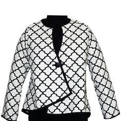 Asymmetrical Jacket – Casablanca Pattern – Onyx / White