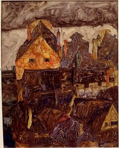 "Egon SchieleThe Old City I (Dead City V), 1912Oil on woodSigned and dated, lower left 16 ¼"" x 13 3/8"" (42.5 x 34 cm) via www.gseart.com"