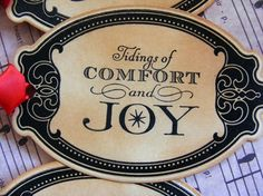 Vintage Style Gift Tags: Tidings of Comfort & Joy, $7.25