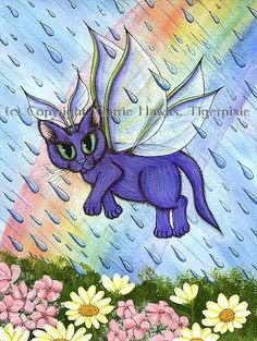 Spring Showers Rainbow Cat Fairy, Cat Paintings, Fantasy Cat Art  Prints & Gift Items featuring this image are available on my website. © Carrie Hawks, Tigerpixie Art Studio, http://Tigerpixie.com