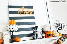 I'm not a big Halloween decorator, but I love the idea of the canvas and the polka dot pumpkin!