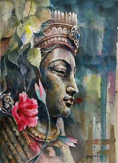 Buddha Drawing, Buddha Art, Ganesha Painting, Buddha Painting, Ganesha Art, Watercolor Portrait Painting, Watercolor Art, Arte Krishna, Indian Art Paintings
