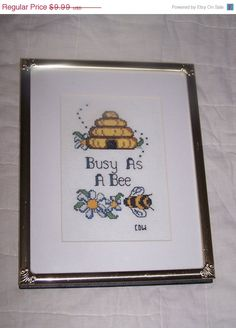 SALE Bumble Bee cross stitch wall hanging Busy as by vintagebyrudi