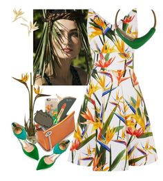 """Bird of Paradise"" by petalp ❤ liked on Polyvore featuring Nearly Natural, Jil Sander, Karen Millen, Monet, Ray-Ban, Jean-Michel Cazabat, Sisley, Casetify, dress and ootd"