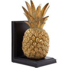 Gold Tone Pineapple Bookend