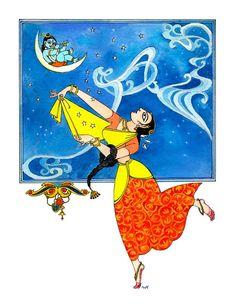 Bapu Bomma Krishna Painting, Madhubani Painting, Indian Paintings, Easy Paintings, Art Drawings Sketches Simple, Cute Drawings, Indian Illustration, Art Beat, India Art