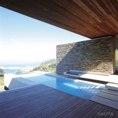 Architecture, Cool Contemporary Minimalist House Design With Infinity Pool And Seaside View Elegant Also Inspiring Outdoor Architecture Along With Wood Flooring Ideas: The Expensive Modern Swimming Pool Designs Minimalist House Design, Modern House Design, Patio Design, Exterior Design, Decks, Moderne Pools, Golf Estate, Patio Interior, Villa