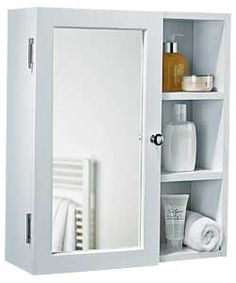 Single Mirror Bathroom Cabinet With Shelves White