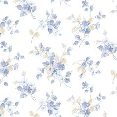 Norwall Wallcoverings Inc Pretty Prints IV x Blossom Mini Wallpaper Color: Blue / Cream Doll House Wallpaper, Brick Wallpaper, Home Wallpaper, Wallpaper Roll, Floral Print Wallpaper, Flower Wallpaper, Pattern Wallpaper, Floral Prints, Backgrounds