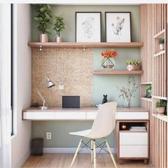 60 Comfortable Home Office Ideas to Inspire. home office ideas; small home office; There is a need for a home office, especially for those who work at home or need continue unfinished work at home. A good workspace… Office Nook, Home Office Space, Home Office Desks, Desk Nook, Study Office, Tiny Home Office, Small Space Office, Closet Office, Home Office Shelves