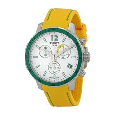 Tissot Men's T0954491703701 Quickster Analog Display Swiss Quartz Yellow Watch. Tissot quickster chronograph soccer world cup 2014 white dial yellow silicone men's watch. Luminescent hands. Date display at the 4 o'clock position. Chronograph - three sub-dials displaying: 60 second, 60 minute and match phase counter (used to time all phases of a football [soccer] match. Swiss-quartz movement. Case diameter: 42mm. Water resistant to 330 feet.