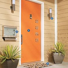 Sleek & Contemporary Front Entry Makeover:  Give guests a great first impression of your home by sprucing up your front entry.   1. Pump Up the Door. A bold color on the entry door and installed a chrome handle set. Plus added a set of stainless steel, mid-century modern house numbers.  2. Replace the Porch Lights. On both sides of the door are aluminum-and-glass wall lamps.  3. Swap Out the Mailbox.   4. Add Something Underfoot. Smooth natural stones in a pebble mat provide a welcome…