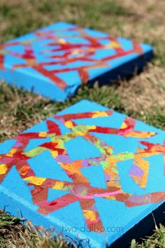 Spruce up your kid's garden with these colorful resist-art stepping stones!