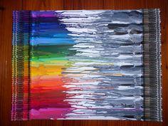 Keilrahmen 24 x 18 Mit schwarz, weiß und grau Buntstifte geschmolzen, für ein Ende. Und ein Regenbogen von Farben Buntstifte geschmolzen vom