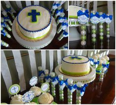 Blue Chevron and Lime Green First Communion Cake and Gumball Favors