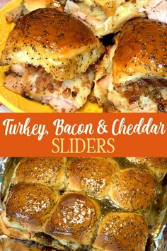 Smoky bacon bits sprinkled on sharp white cheddar cheese are the perfect complement to deli or leftover turkey. Mix up a sweet poppy seed glaze and pour over sweet Hawaiian rolls for baked turkey sliders that will be gone as soon as they come out of the o Hawaiian Roll Sandwiches, Hawaiian Roll Sliders, Baked Sandwiches, Rolled Sandwiches, Slider Sandwiches, Hawaiian Sweet Rolls, Turkey Sandwiches, Recipes With Hawaiian Rolls, Hot Sandwich Recipes