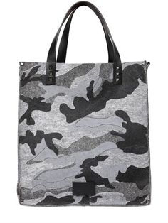 VALENTINO Camouflage Printed Cotton Felt Bag, Grey. #valentino #bags #shoulder bags #hand bags #leather #lace #cotton #