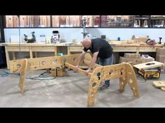 I have not seen the video.  Even so, there are a few potentially great ideas I pinned this for.    1. Cutting holes out to reduce weight and allow keeping cords/work towels off ground.   2. Tri-leg construction for true flat storage. Tri-Horse: Portable Woodworking Shop