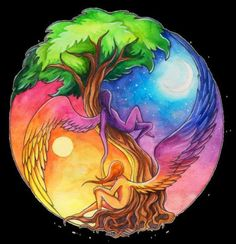 Ying Yang, the tree of life. Tatuajes Yin Yang, Yin Yang Tattoos, Tatoo Art, I Tattoo, Cool Tattoos, Tattoo Tree, Night Tattoo, Image Zen, Ying Y Yang