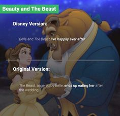 Original vs Disney I don't mind either story, there's a reason Disney changed them, but the originals are beautiful too Disney Fun Facts, Disney Jokes, Funny Disney Memes, Sad Disney Quotes, Funny Memes, Videos Funny, Funny Quotes, Original Disney Stories, Disney Pixar