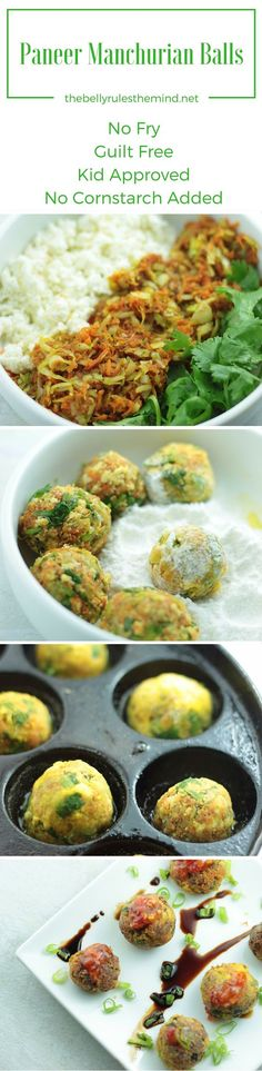 Healthy Paneer Manuchurian Balls made with Paneer, veggies and without any cornstarch. A lip smacking indo-chinese snack or party appetizer. Recipe