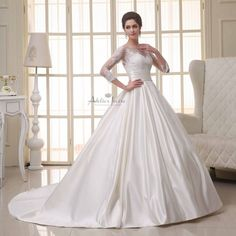 Ball Gown w/ 3/4 Sleeve by Atelier Ivoire