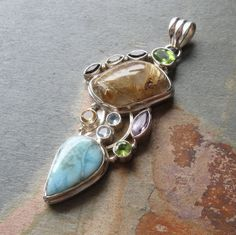 Larimar multi gemstone Gold rutilated quartz .925 by BoopsyBeads, $67.00